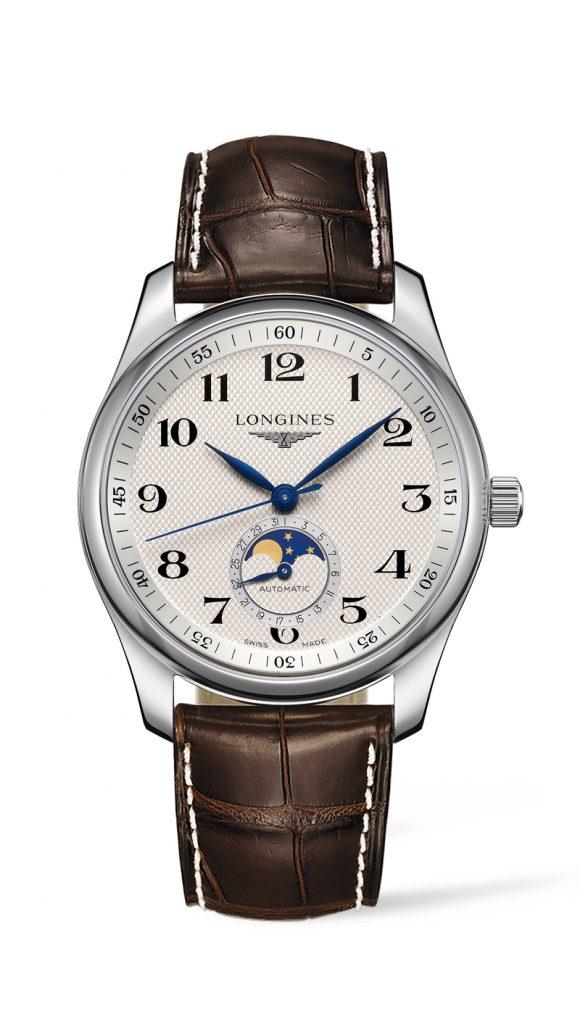 Silberne Longines Uhr mit braunem Armband und Mondphase-Anzeige